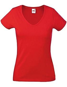 Fruit of the Loom Lady-Fit Camiseta Cuello en V camiseta Mujer Tops Ladies