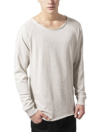 Urban Classics Herren Sweatshirt Long Open Edge Terry Crewneck Weiß (offwhite melange 700)