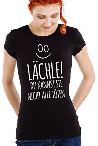 Reinigen Sie Lustige T-shirts (Shirtinator Lustiges T-Shirt für Damen Frauen   Lächle Du Kannst Sie Nicht Alle Töten   Damen T-Shirt   Original von Black L)