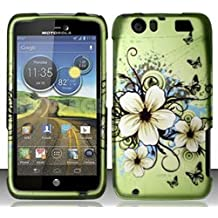 Motorola Atrix 3 HD MB886 (AT&T) Hawaiian Flowers Design Snap On Hard Case Protector Cover + Car Charger + Free Neck Strap + Free Wrist Band