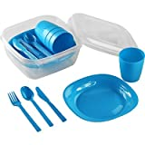 Travel Crockery Set for Picnic or Camping, 4People, 22Pieces Blau