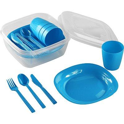 Picknickgeschirr Picknickbesteck Campinggeschirr Reisebesteck für 4 Personen 22-teilig Robust (Blau)