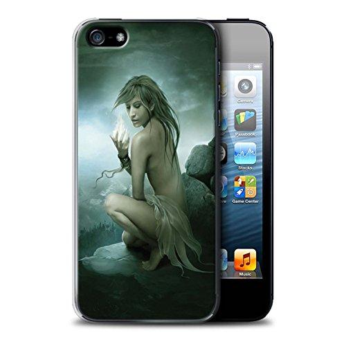 Officiel Elena Dudina Coque / Etui pour Apple iPhone SE / Bain Caché Design / Un avec la Nature Collection Feu Blanc
