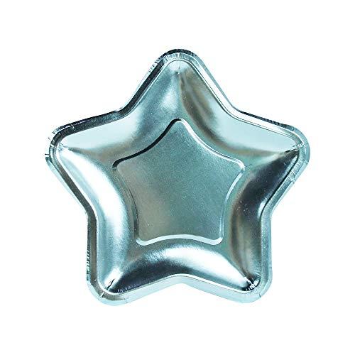 InviteMe 10 Starlight Kuchen-Papp-Teller in Sternen-Form mit metallisch glänzender Hellblauer Folien-Beschichtung (Dessert Teller Frozen)