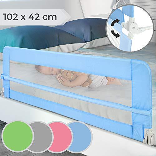 Barrera de cama | Abatible y Portátil, Color a elegir, Tamaño: 102/42cm, Fácil Instalación | Barandilla de Seguridad para Niños, Bebés, Protección contra caídas (Azul)