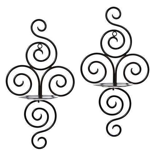 Wandkerzenleuchter 2 Teile / satz Retro Hängen Wand Montiert Kerzenständer Wirbelnde Eisen Handwerk Kerzenhalter für Hochzeiten Veranstaltungen Dekorationen Schwarz 18 * 12 * 38 CM / 7 * 4,7 * 15IN