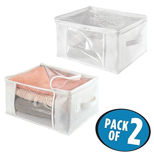 Mdesign set da 2 scatole per armadi pieghevoli con cerniera – contenitori per armadi ideali come porta abiti o porta biancheria da letto – bianco