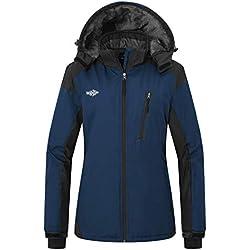 Wantdo Femme Manteau d'hiver étanche Sportif Anorak avec Polaire Doublée Veste de Ski à Capuche Classique Bleu Foncé X-Large