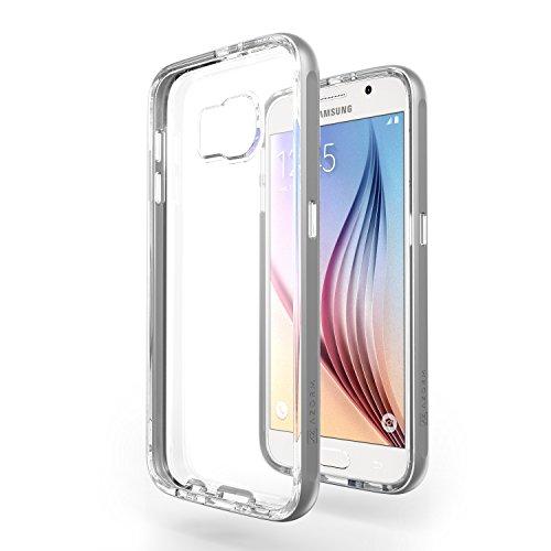Azorm Handyhülle für Samsung Galaxy S6, Hybrid Edition Smartphone Hülle, Bumper Schutzhülle Anti-Rutsch und Kratzfest, Silikon Rückseite Transparent - Grau (Metalleffekt)