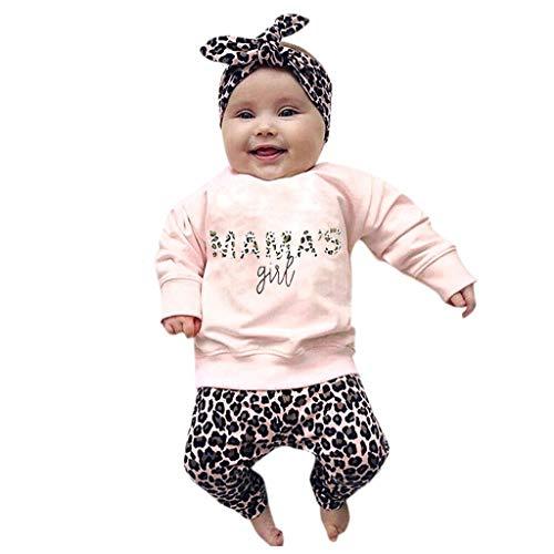 Obestseller Kinder Unisex,Sommerkleidung für Kinder,Neugeborenes Baby Kleidung Brief drucken Strampler Tops + Lange Hosen + Hut 3PCS Outfits (90, Rosa A)