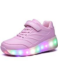 Zapatillas con Ruedas,Unisex Niños LED Luz Parpadea Deportes al Aire Libre Skateboard Sneaker Automáticamente