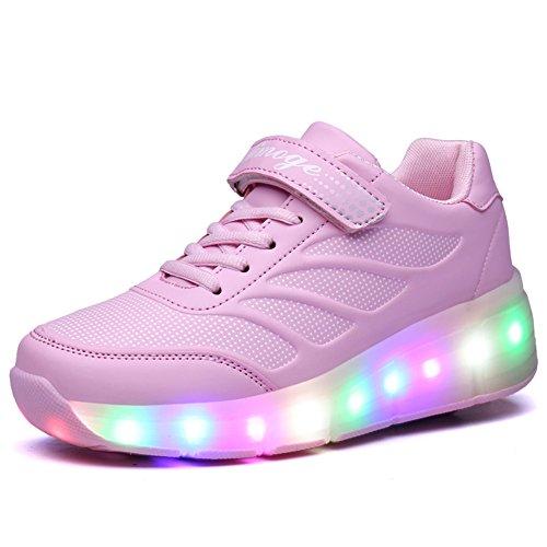 Zapatillas con Ruedas,Unisex Niños LED Luz Parpadea Deportes al Aire Libre Skateboard Sneaker Automáticamente Retráctiles Zapatos de Roller para Niño y Niña