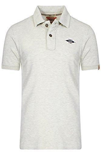 Tokyo Laundry Herren Heidelburg Polohemd Designer Kragen Piquet T-Shirt Top - Oat Grey Marl, S (Filz-logo-t-shirt)