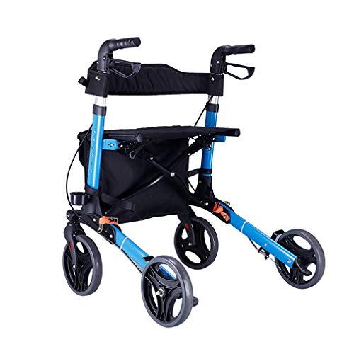 Drive Medical Rollator Walker Faltbar, Heavy Duty Warenkorb Mit Sitz, 4 Räder Medical Gehhilfen Doppelbremssystem, Benutzt Für Senioren Wandern,Blue -