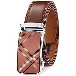 GFG Cinturón de cuero para hombres con hebilla automática 35mm Ancho-300-110-LIGHT BROWN