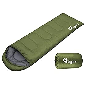 Peanut By EGOZ Easy to carry Warm Adult Sleeping Bag Outdoor Sports Camping Hiking With Carry Bag (Army Green)
