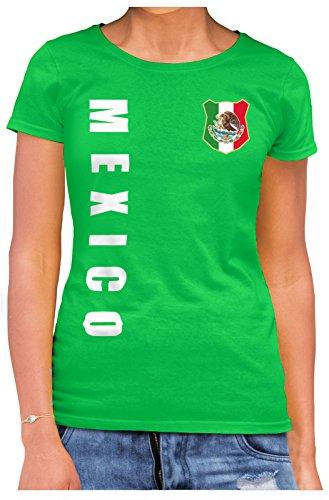 AkyTEX Mexiko Mexico Damen Trikot Fanshirt T-Shirt WM 2018 Name Nummer (Maigrün, M)