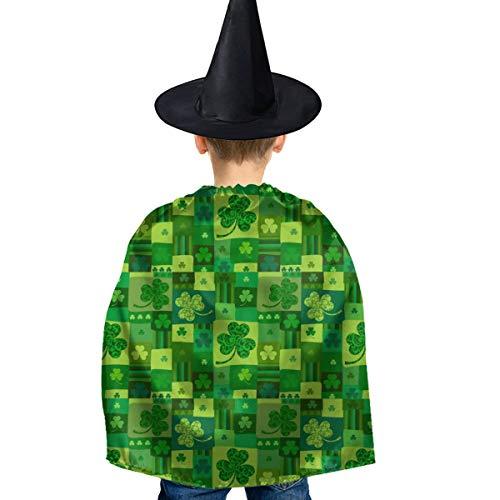 Amoyuan Unisex Kinder Weihnachten, Halloween, Hexe, Umhang mit Hut, St. Patrick Day Green Colors Wizard Cape Fancy Dress (St Patrick's Day Kostüm Für Kleinkind)
