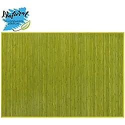 Alfombra de Bambú Natural, de Color Verde, con Base Antideslizante, Ideal para Salón/Dormitorio, de 140cm X 200cm - Hogar y Más