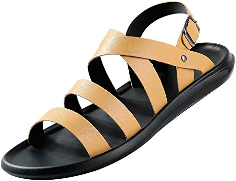 Herrenschuhe PU Sommer Komfort Sandalen Wanderschuhe fuumlr Casual Schwarz Gelb weissszlig Braun GAOLIXIA ( Color : Brown