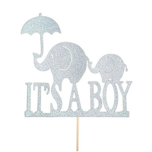 r Baby Dusche Kuchen Topper - Silber it's a Boy, 14 cm (Baby-elefant-kuchen-deckel)