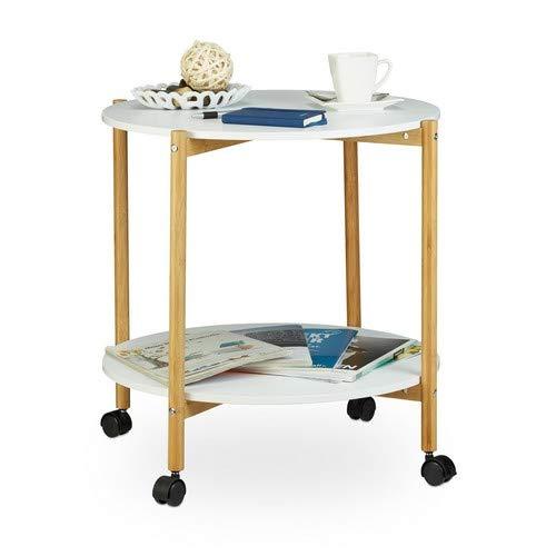 Relaxdays Table d'appoint ronde à roulettes avec freins 2 plateaux blancs bois console, blanc