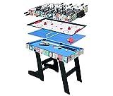 hj HLC Mesa Multijuegos Plegable 4 en 1 Mesa de Billar,Ping Pong,Hockey y Futbolín (109 x 60,5 x 82 cm) Buen Regalo para Las Fiestas Juegos Entre Familia