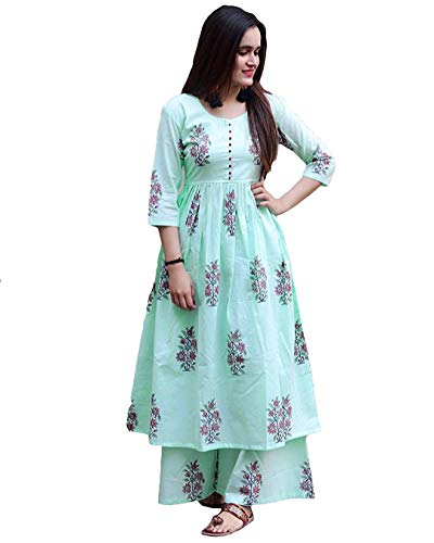 Star Product Designer Hand Block Printed Cotton Women Dress with Long Palazzo...