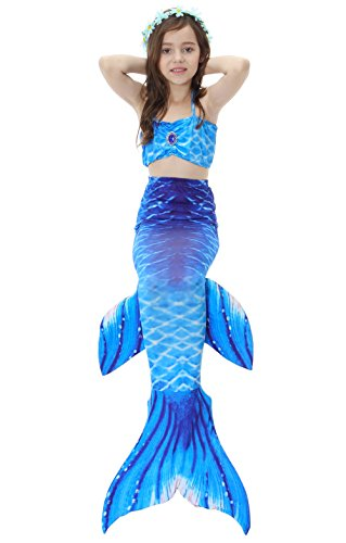 Das Beste Mädchen Meerjungfrauen Bikini Kostüm  Meerjungfrau Schwimmanzug Badeanzüge   Tankini Dunkelblau Gr. 130 (Puffy Shirt Kostüm)