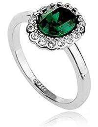 Smaragd Oval 18K Weiss Vergoldet Ring gemacht mit SWAROVSKI ELEMENTS Kristall, Modeschmuck