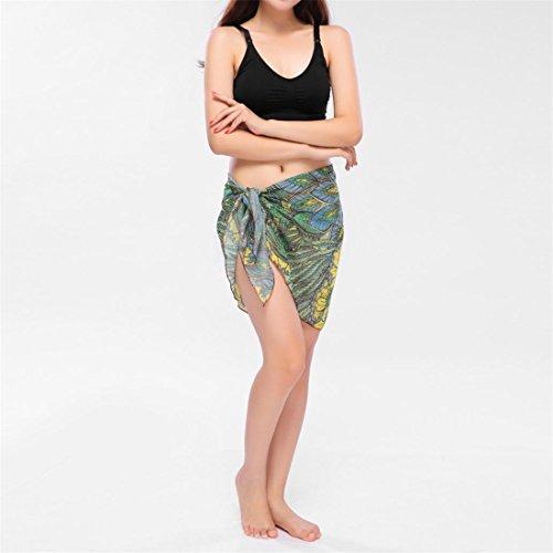 Malloom Mini Beach Strand Kleid Damen Bademode Chiffon Cover Up Beach Wrap Dress Grün-B