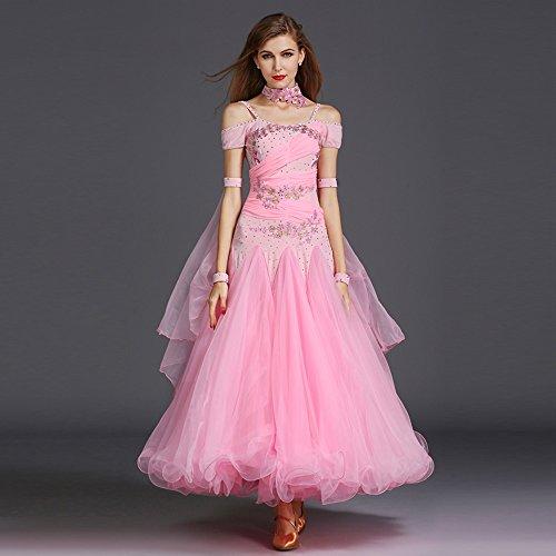 ZTXY Damen Hand Bestickt Modern Dance Kleid Große Pendel Rock GB Dance Kleid Tanzwettbewerb Performance Kleid Strass Tanz Kostüm Tango Walzer Rock,Pink,XL