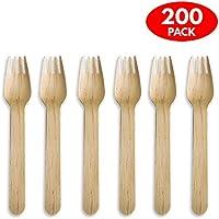 200 Tenedores de Madera Desechables, Respetuosos con el Ecosistema, Alternativa Clásica del Plástico