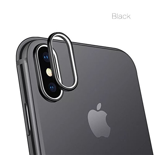 ikazen Camera Guard Circle Metal Lens Film Protector Case Cover Ring Bumper Ring Installed for Apple iPhone X (Black)