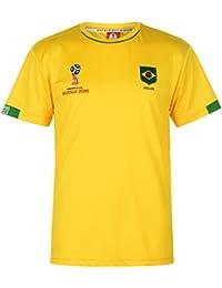 Fifa World Cup Russia 2018 Fifa Copa Mundial de Fútbol 2018 Camiseta Oficial Brasil Poliéster Amarillo (Small)