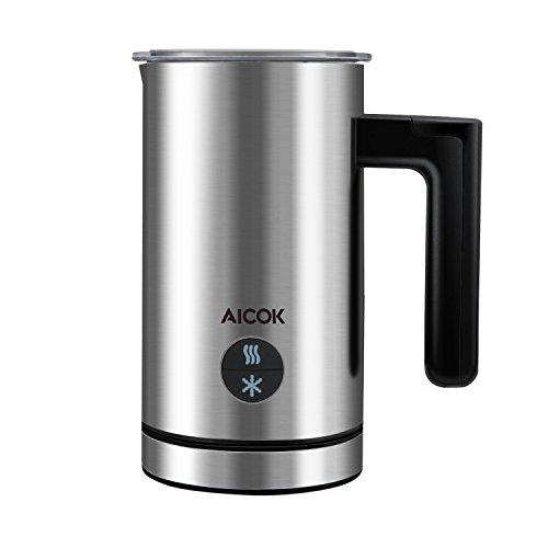 Aicok Mousseur à lait électrique, 300ml Automatiques Chaud et Froid Milk Frother,Cappuccino Latte Macchiato Caffe