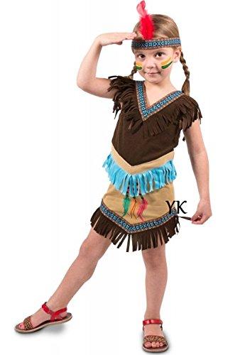 Indianerkleid mit Stirnband für Mädchen (Indianer Kostüm Mit Kopfschmuck)