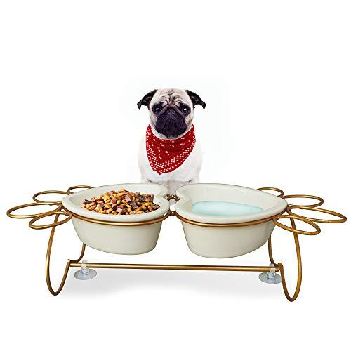 PETAFLOP erhöhten Hund Schalen für Kleine Hunde (20lbs) Katze Futterstation Futterspender für Haustiere in pfotenabdruckform Stahl Rahmen mit Schalen aus Keramik -