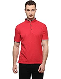Cayman Red Solid Regular Fit Polo T-Shirts