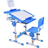 Furniture First VOYEGER Height Adjustable Imported Kids Study Table & Chair With Bigger Size Desk 800 * 620 Cm With Height Lock & Book Stand,Stationary Desk/Suitable For Kids 3-18 Years, Blue