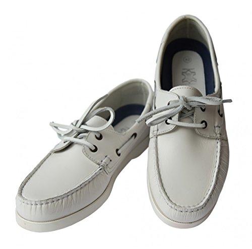 Beverly Originals Herren Leder Bootsschuh Men's Casual Sailor Weiß