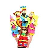 Toyvian Premium Holz Fingerpuppen Märchen Kinderreime Charaktere, Familie und Königreich Hand Puppen für Kinder Story Time (6 Teile/Satz)