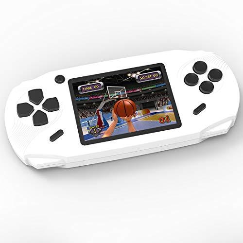 Bornkid 16 Bit Handheld Spielekonsole für Kinder und Erwachsene mit Integriertem 100 HD Videospiel 3,0 Zoll Seniors Electronic Handheld Spiele Jungen Mädchen Geburtstags Geschenk (Weiß) (Handheld-spiel-konsole)