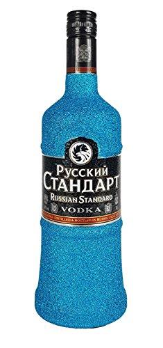 Russian-Standard-Vodka-70cl-40-Vol-Bling-Bling-Glitzerflasche-in-blau-Enthlt-Sulfite