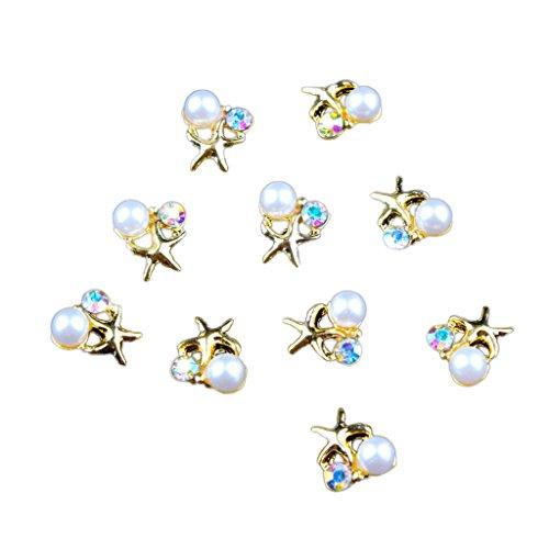 Fenteer 10pcs Strass Décor Ongle à Vernis Brillant DIY Manucure Décoration Ongles - Avec perles