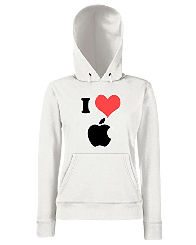 T-Shirtshock - Sweats a capuche Femme TR0060 I Love Apple 25mm 1 Pin Badge Button Mac Steve Jobs Computer Geek Blanc
