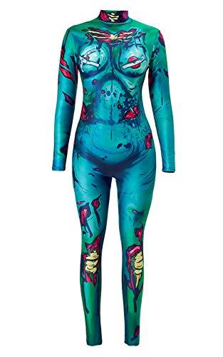 (Halloween Jumpsuit 3D Grafik Printed Halloween Kostüme Ideen Royalblau Schwarz Weiß Knochen Organ Blood Haut Enge Skeleton Bodysuit Overall Xray High Neck Catsuit für Frauen)