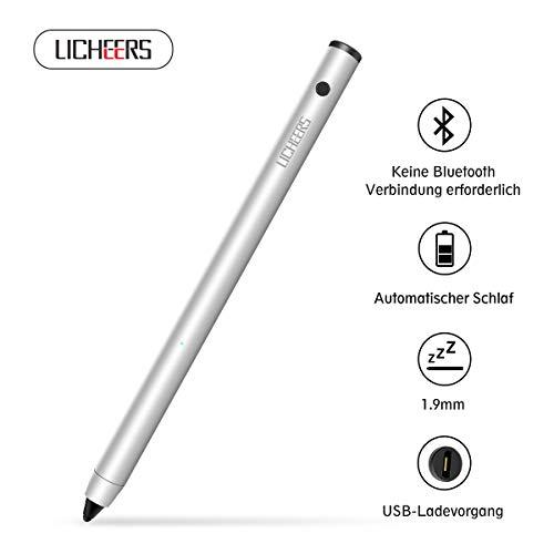 licheers USB wiederaufladbar Eingabestift mit einstellbarer feiner Spitze active Stylus Stift Touchstift kompatibel mit Touchscreens von IOS / Android / Microsoft Systemen (Silber)