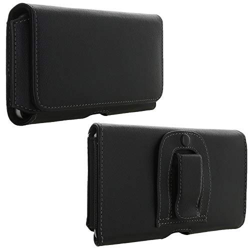 XiRRiX Handy Leder Gürteltasche 6.1 Tasche mit Stahlclip passend für Huawei Honor 8X / Samsung Galaxy A6+ A7 A9 J4+ J6+ 2018 A70 - Handytasche schwarz