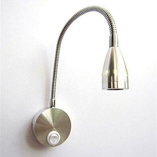 Preisvergleich Produktbild WINOMO Flexarm LED Wand leichte Lektüre LED Licht Nachttischlampe mit Schalter AC 85-265V 3W 360-Grad (warmweiß)